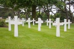 Den amerikanska militära kyrkogården nära Omaha Beach på Colleville sur Mer som historisk plats av dag D 1944 förenade landningar Arkivfoto