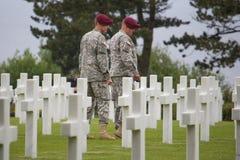 Den amerikanska militära kyrkogården nära Omaha Beach på Colleville sur Mer som historisk plats av dag D 1944 förenade landningar Arkivfoton