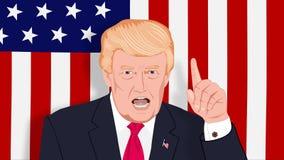 Den amerikanska presidenten Donald Trump svär vektor illustrationer