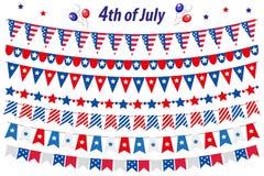 Den amerikanska självständighetsdagen beröm i USA, ställde in bunting, flaggor, girland Samling av dekorativa beståndsdelar för J vektor illustrationer