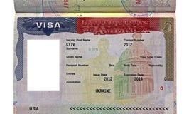 Den amerikanska visaen för den ukrainska medborgaren, USA löper Royaltyfria Bilder