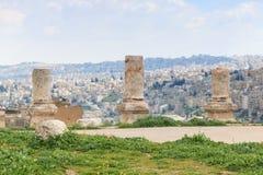 Den Amman citadellen fördärvar i Jordanien Arkivbild