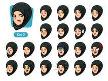 Den andra uppsättningen av muslimkvinnan i svarta hijabtecknad filmavatars vektor illustrationer