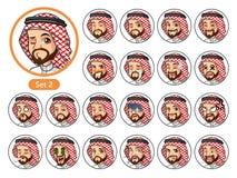 Den andra uppsättningen av saudiern - arabiska avatars för design för mantecknad filmtecken Arkivbild