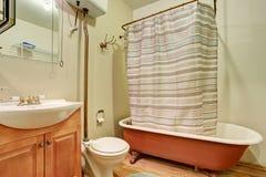 Den antika badruminre med det bruna badet badar och ädelträgolvet Royaltyfri Bild