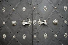 Dörren med rostigt blom- belägger med metall Arkivfoton
