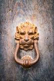 Den antika dörrknackaren formade det guld- huvudet för lejon` s Arkivfoton