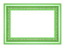 Den antika gröna ramen på den vita bakgrunden Arkivfoton