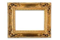 Den antika guld- ramen på den vita bakgrunden Royaltyfri Bild