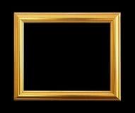 Den antika guld- ramen på svart bakgrund Arkivbild