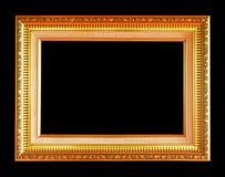 Den antika guld- ramen på svart bakgrund Arkivbilder