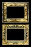 Den antika guld- ramen på den svarta bakgrunden Arkivbilder