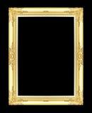 Den antika guld- ramen på svarten Royaltyfri Foto