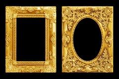 Den antika guld- ramen på svarten Royaltyfri Fotografi