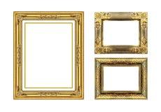 Den antika guld- ramen på vit Royaltyfri Fotografi