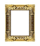 Den antika guld- ramen på viten Royaltyfria Bilder