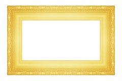 Den antika guld- ramen på viten Fotografering för Bildbyråer