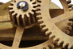 den antika klockan gears makro Arkivbilder