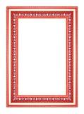 Den antika röda ramen på den vita bakgrunden Arkivfoto