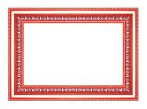 Den antika röda ramen på den vita bakgrunden Royaltyfri Foto