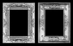 Den antika ramen som isoleras på svart Fotografering för Bildbyråer