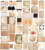 Den antika skrivplattan och fotoet tränga någon, åldrades pappers- ark, ramar, b Arkivbild