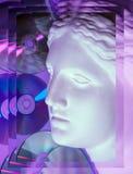 Den antika statyn av det Venus huvudslutet upp på blänker CDbakgrund Begrepp av musik, stil, tappning stock illustrationer