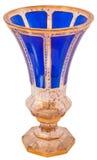 Den antika vasen, bohemiskt exponeringsglas 19th isolerade på vit Royaltyfria Bilder