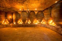 Den antika vinodlingen i Spanien med leraamfora lägger in Arkivbild