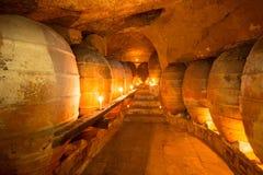 Den antika vinodlingen i Spanien med leraamfora lägger in Royaltyfri Foto