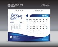 Den APRIL Desk Calendar 2019 mallen, vecka startar söndag, brevpapperdesignen, reklambladdesignvektorn, idérik idé för printingma Arkivfoton
