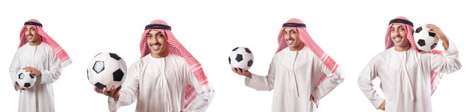 Den arabiska affärsmannen med fotboll på vit Royaltyfri Bild