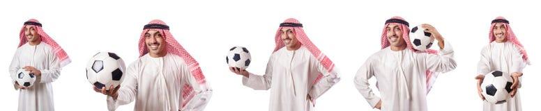 Den arabiska affärsmannen med fotboll på vit Arkivbild