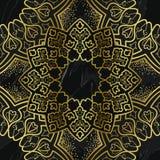 Den arabiska guld- s?ml?sa modellen marmorerar p? bakgrund stock illustrationer