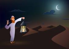 Den arabiska mannen håller lyktan stock illustrationer