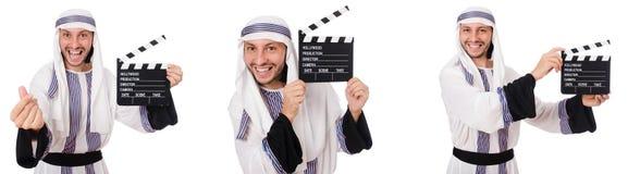 Den arabiska mannen med clapper-brädet som isoleras på vit arkivbilder