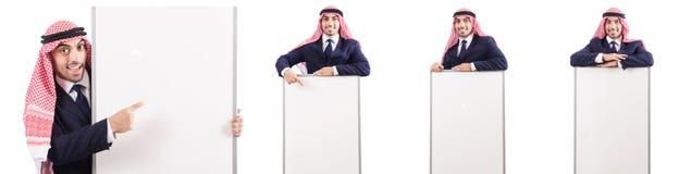 Den arabiska mannen med det tomma brädet för meddelande Royaltyfria Bilder