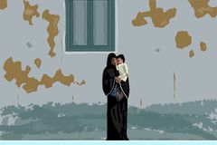 Den arabiska modern i svart abaya och hijab med litet behandla som ett barn i hennes händer under den sjaskiga väggen, Egypten stock illustrationer