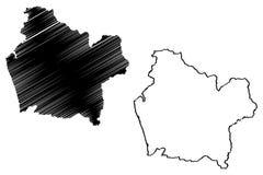 Den Araucania regionrepubliken av Chile, administrativa uppdelningar av illustrationen f?r den Chile ?versiktsvektorn, klottrar s vektor illustrationer