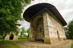 Den Arbore kyrkan i den Arbore byn, Rumänien Royaltyfri Fotografi