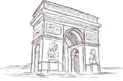 Den Arc de Triomphe fria händer skissar teckningen, Paris Frankrike royaltyfri bild