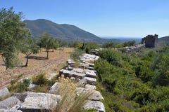 Den Arcadian väggen, Messinia, Grekland arkivbild