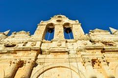 Den Arkadi kloster, Grekland, Kreta, gränsmärket, forntid, fördärvar, historia, religionen, architectureArkadikloster, arkivbild