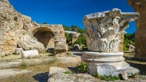Den arkeologiska platsen - fördärvar av Carthage på bad av Antoninus royaltyfri fotografi