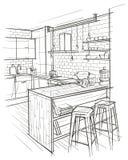 Den arkitektoniska översikten skissar av modern kökinre Arkivbilder