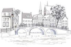 Den arkitektoniska bakgrunden med holländarehus i Holland royaltyfri illustrationer