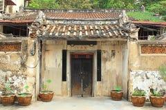 Den arkitektoniska stilen av forntida hus för en kines Royaltyfri Bild