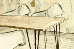 Den arkitektoniska vattenfärgaquarellen skissar och att visa i för matsaltabell för konstnärlig väg partiskt fragment stock illustrationer