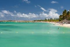 den aruba stranden gömma i handflatan Royaltyfri Foto