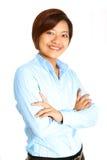 den asiatiska affärskvinnan utför klart till Arkivbild